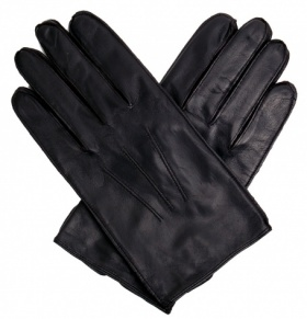 Men's Black Leather Gloves - Fleece Lined