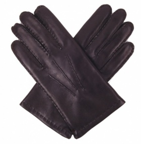 Men's Black Nappa Leather Gloves - Cashmere Lining