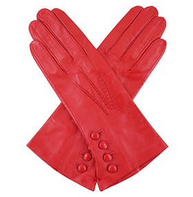 Dents Rose Silk Lined Red Leather Gloves