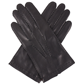 Men's Silk Lined Black Gloves - Out-seam