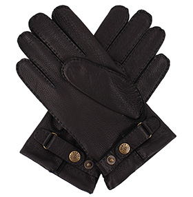 Men's Deerskin Gloves - Cashmere Lined - Black
