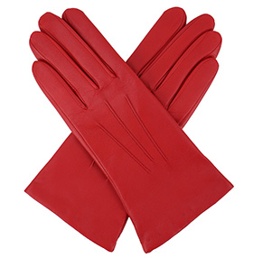 Dents Ladies Cashmere Lined Red Leather Gloves