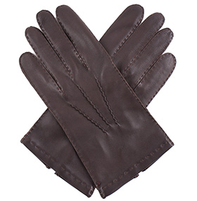 Men's Silk Lined Brown Gloves - Out-seam