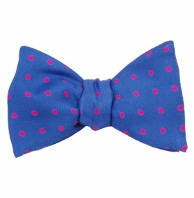 Self-Tie Bow Tie Blue & Pink Polka Dot Silk
