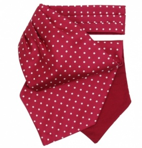 Burgundy Cravat with White Polka Dots