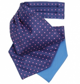 French Navy Cravat with Pink Polka Dots