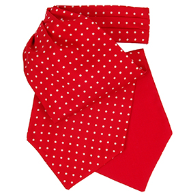 Red and White Polkadot Silk Cravat