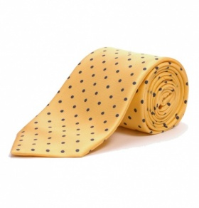 Yellow & Navy Polkadot Silk Tie