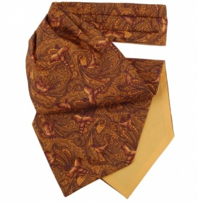 Yellow Pheasant Print Silk Cravat