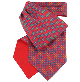 Fort & Stone Silk Cravat - Red Micro Paisley Ver1