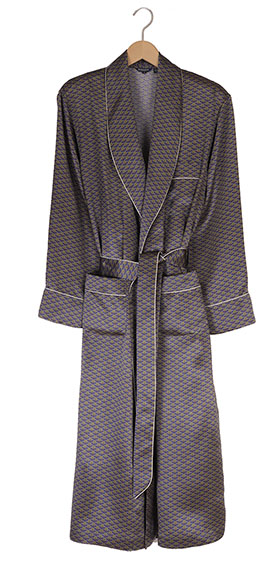 Bonsoir Mens Silk Dressing Gown - Navy Motif