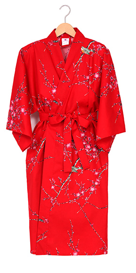 Ladies Cotton Happi Kimono - Red Plum & Warbler