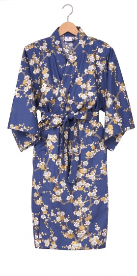 Ladies Cotton Happi Kimono - White Plum on Blue