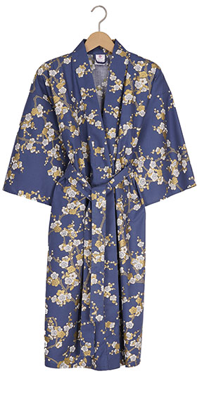 Ladies Cotton Happi Kimono - White Plum on Navy