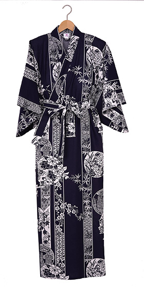 Ladies Cotton Kimono - Flowers in Circles -Navy