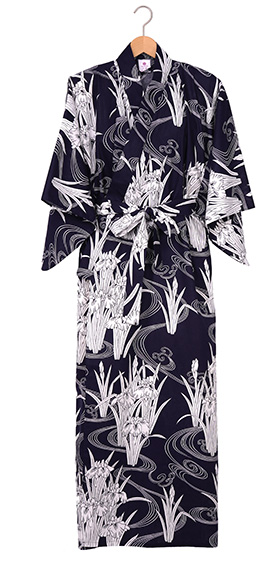 Ladies Cotton Kimono - Iris & Flowing Water -Navy