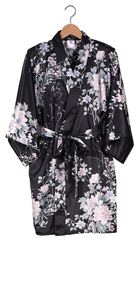 Ladies Sateen Hanten - Poetry & Flowers - Black