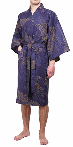 Men's Cotton Happi Kimono - Navy Cloud