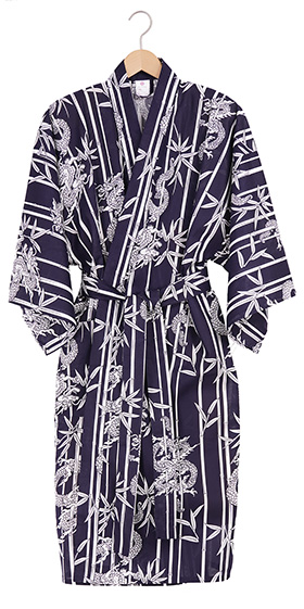 Men's Cotton Happi Kimono - Navy Bamboo & Dragon