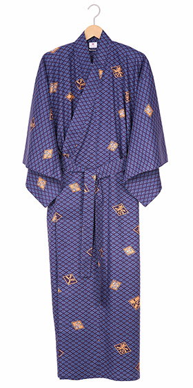 Men's Cotton Yukata Kimono - Diamond Pattern - Blue