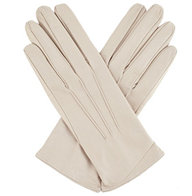Womens Beige Leather Gloves - Silk Lining
