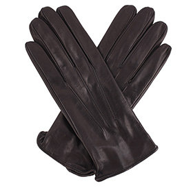 Womens 3-Point Black Leather Gloves - Silk Lining