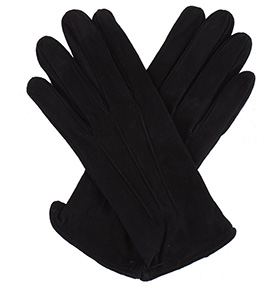 Womens Black Suede Gloves - Silk Lining