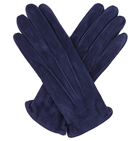 Womens Denim Blue Suede Gloves - Silk Lining
