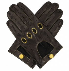 Men's Leather Driving Gloves - Black & Yellow