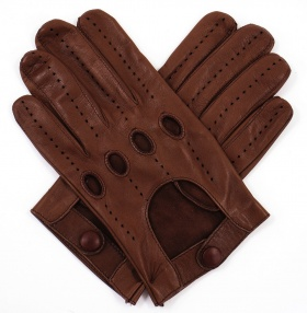 Men's Leather Driving Gloves - Tobacco & Chocolate