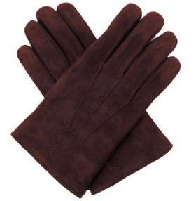 Men's Lamb Suede Gloves - Brown