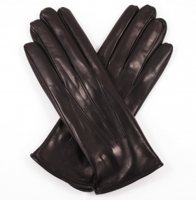 Womens Black Leather 3-Point Gloves - Cashmere Lining