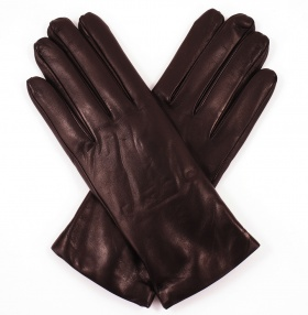 Womens Mahogany Brown Leather Gloves - Cashmere Lining