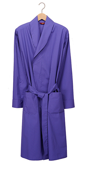 Men's Lightweight Cotton Dressing Gown - Blue Polka Dot
