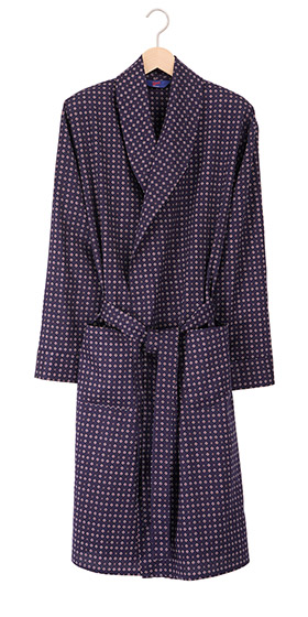 Men's Lightweight Cotton Dressing Gown - Navy Cravat Print