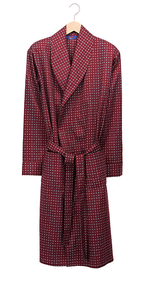 Men's Lightweight Cotton Dressing Gown - Wine Cravat Print