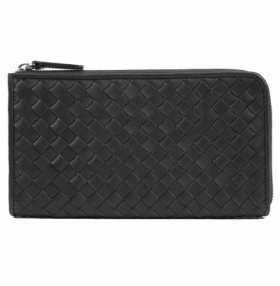 TomDickandHarry Travel Wallet - Intreccio Leather - Black