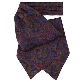 Tom Dick and Harry - Navy & Brown Paisley Silk Cravat
