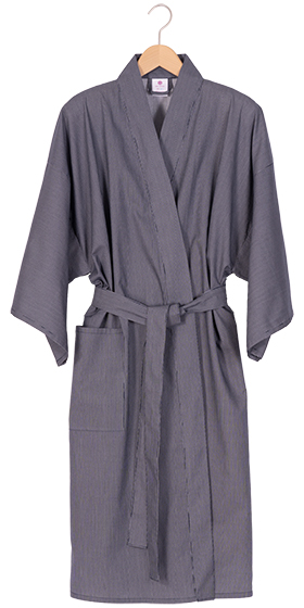 Men's Cotton Happi Kimono - Navy Fine Stripe