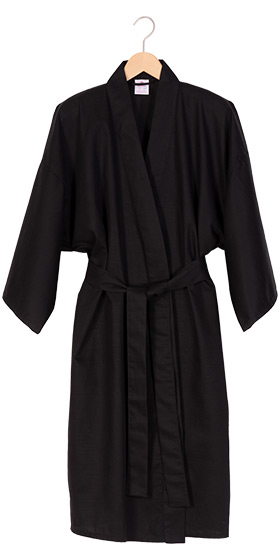 Men's Cotton Shantung Happi Kimono - Black